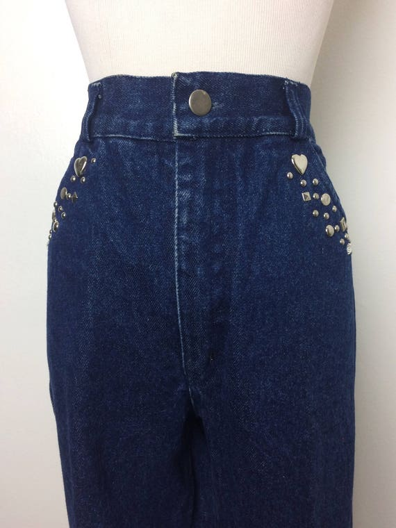 91fbb1d6f7a92 Vintage 80s Jeans  80s High Waist Dark Wash Jeweled Denim