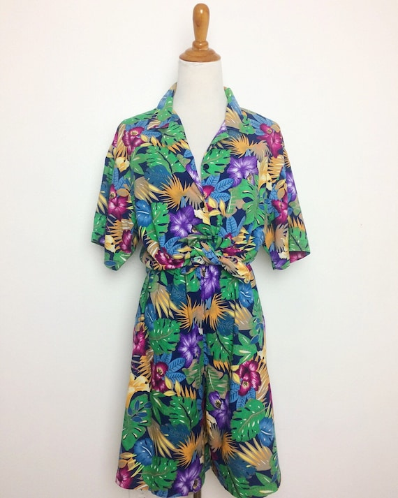 Vintage 80s Two Piece Set/ 80s Tropical Print Shir