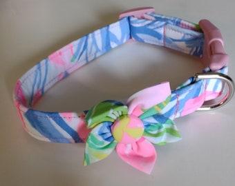 Girl Dog Collar - Floral Dog Collar  - Adjustable Dog Collar - Havana - Small Dog Collar - Large Dog Collar - Custom Dog Collar