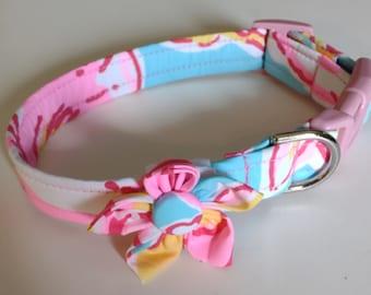 Girl Dog Collar - Floral Dog Collar  - Adjustable Dog Collar - Breakwater - Small Dog Collar - Large Dog Collar - Custom Dog Collar