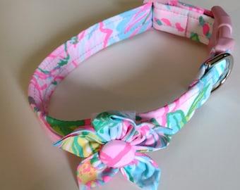 Girl Dog Collar - Floral Dog Collar  - Adjustable Dog Collar - Paradise - Small Dog Collar - Large Dog Collar - Custom Dog Collar