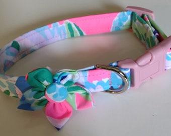 Girl Dog Collar - Floral Dog Collar  - Adjustable Dog Collar - Pineapple - Small Dog Collar - Large Dog Collar - Custom Dog Collar