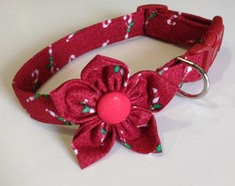 Custom Dog Collar - Girl Dog Collar - Adjustable Dog Collar -  Christmas - Small Dog Collar - Large Dog Collar and Flower Bow