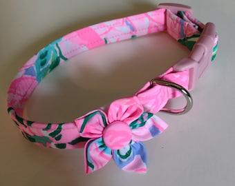 Girl Dog Collar - Floral Dog Collar  - Adjustable Dog Collar - Pretty - Small Dog Collar - Large Dog Collar - Custom Dog Collar