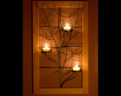 Window frame wall sconce with metal tree sculpture and vase style glass votive holders