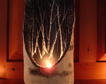 Birch log votive