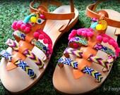 "Boho Gladiator Sandals ""IOANNA"" - Pom Pom Sandals"