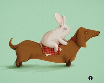 PERRETES: Dachshund & Conejo