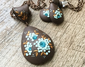 Fête des mères cadeau ensemble de bijoux - Boucles d'oreilles marrons et le collier en forme de larme déclaration collier, Piper Pixie Designs exclusifs, Boho bijoux ensemble