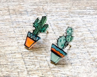 Succulent Jewelry, Succulent Earrings, Cactus Earrings, Succulents Studs, Handmade Earrings