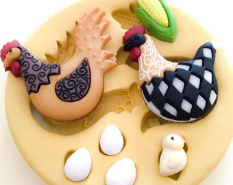 Chicken Farmhouse Silicone Mold with chick, eggs, and corn - Hen, Farm, Country, Polymer Clay Mold, Food Safe Mold