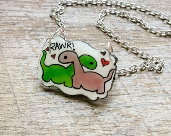 Dinosaur Charm Necklace - Dinosaur Gifts - Rawr Means I Love You in Dinosaur - Dinosaur Valentine Gift