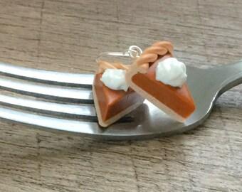 Pumpkin Pie Earrings - Miniature Food - Food Jewelry - Friend Gift - Polymer Clay Food Earrings
