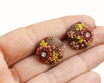 Boucle d'oreille de fleur - Boutique bijoux - bijoux en argile polymère - Boutique boucles d'oreilles - boho boucles d'oreilles - petits cadeaux de printemps