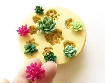 Miniature Succulents Mold - Food Safe Silicone Succulents Mold - Polymer Clay Molds