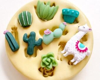 Llama Mold, Cactus Mold, Polymer Clay Mold, Tiny Llama and Potted Cactus Mold, Polymer Clay Resin Soap Fondant, Llama Birthday, llama gift