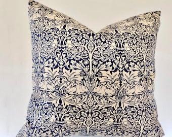 William Morris blue Brother Rabbit Cushion Cover , 45x45cm, 50cm x 50cm, 16'' 18'' 20'' 22'' UK