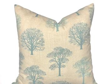 Cushion cover Trees Blue , 16'', 18'', 20'', 22'' , Country Farmhouse cushion cover, 45cm, 50cm UK