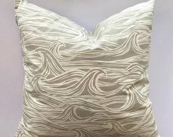 Cushion Cover Grey Waves Nautical, Choose size, 100% cotton, UK