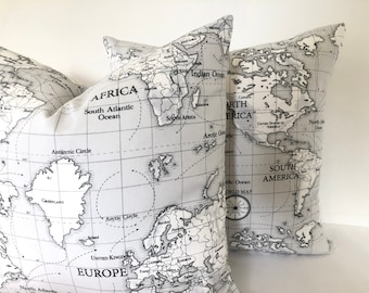 "Map Print Cushion Cover, Grey , UK                 16"", 18"", 20"", 22"""