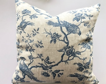 Blue Linen Bird Cushion Cover, Choose size, UK