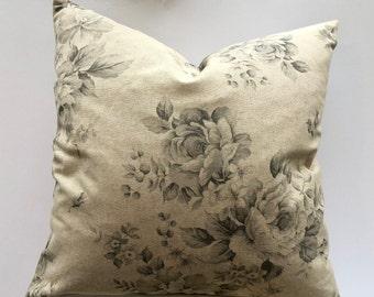 Rose floral linen cushion cover, Choose size, UK