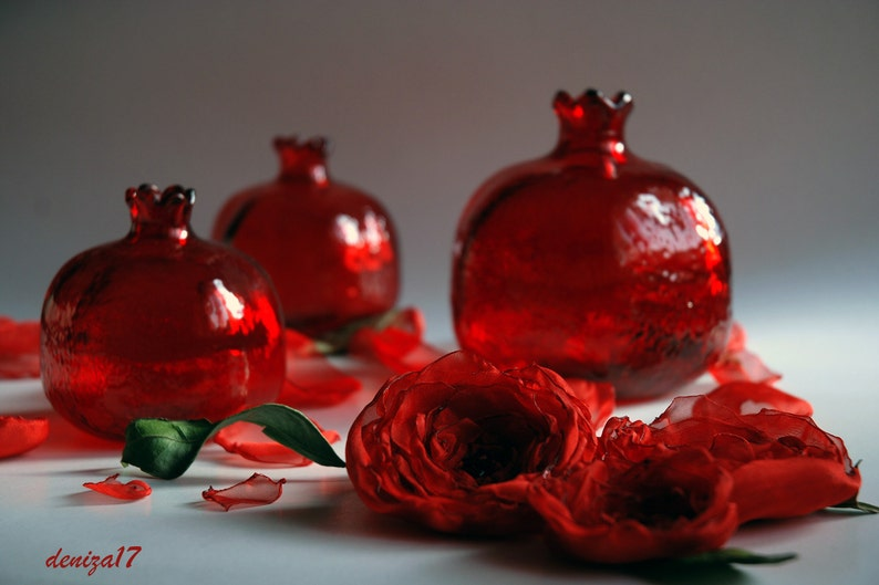 3 Red Glass Pomegranate image 0