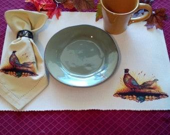 Pheasant Print Placemats in Cream