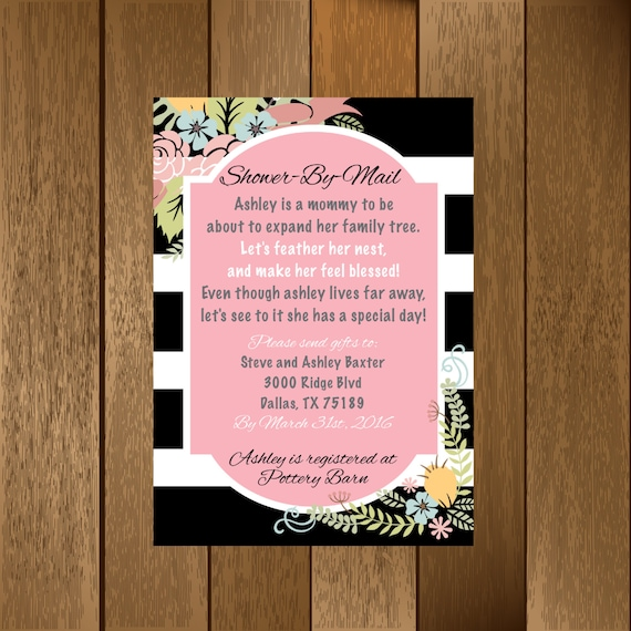 Classic Striped Shower By Mail Baby Shower Invitation Etsy