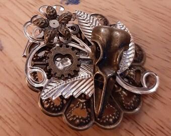 Steampunk bird skull hair clip