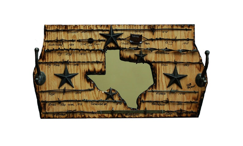 New Item  Texas Coat Rack with Barbed Wire and a Mirror image 0