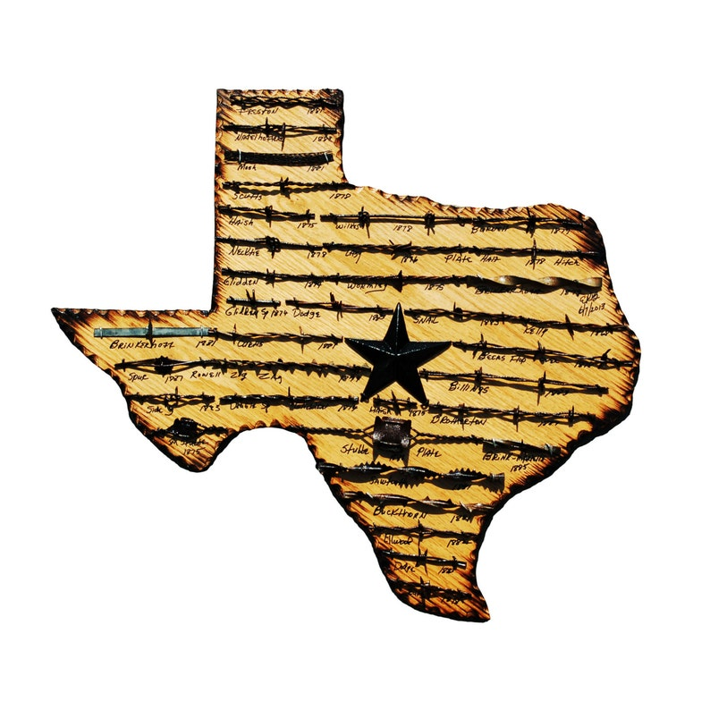 Texas State Plaque with Antique Barbed Wire   Medium image 0