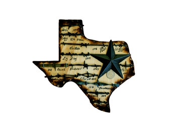 Texas State Plaque with Antique Barbed Wire, Metal Star and Texas Coin- Small