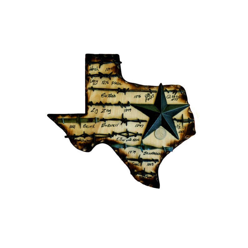 Texas State Plaque with Antique Barbed Wire Metal Star and image 0
