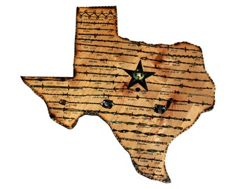 Texas State Plaque with Antique Barbed Wire - Large