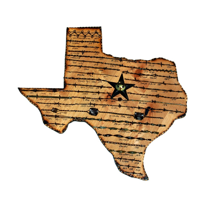 Texas State Plaque with Antique Barbed Wire  Large image 0