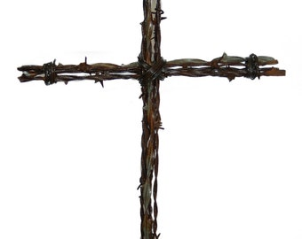Rustic Cross made with Antique Barbed Wire