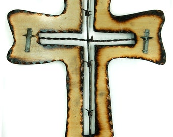 Christian Cross with Antique Barbed Wire