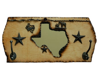 New Item!  Texas Coat Rack with a Mirror