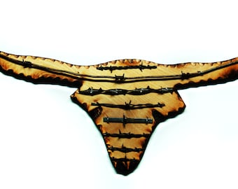 Longhorn Antique Barbed Wire Plaque - Medium