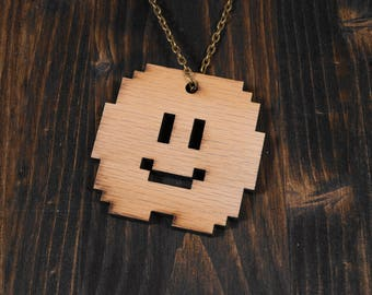 Super Mario Lakitu's Cloud 8-Bit Laser Cut Wood Necklace