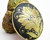 Damascene Brooch, Shakudo Silver Pin, Antique Japanese Pin, Asian Floral Design, Meiji Jewelry, ca1900, Japanese Jewelry, Export Silver.