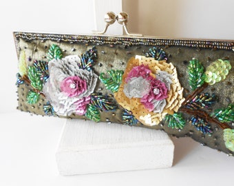 f01e04c45d3 Vintage Green Beaded Evening Bag, Glamorous Beaded Clutch Bag EB-0108