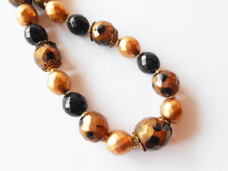 Vintage Gold Black Bead Necklace Glamorous Necklace Single Strand