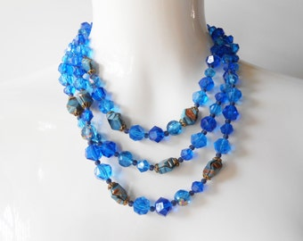 Blue Bead Necklace, Vintage 1950's, Western  Germany, Triple Strand Necklace, Costume Jewelry, Blue Necklace