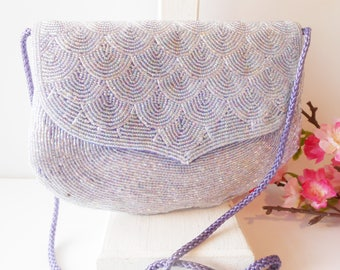 Lavender Evening Bag, Beaded Evening Bag, Vintage Beaded Bag, Wedding Bridal, Beaded Handbag, Beaded Clutch EB-0108