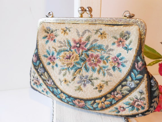 Vintage 1950s Tapestry Evening Bag, Made West Germ