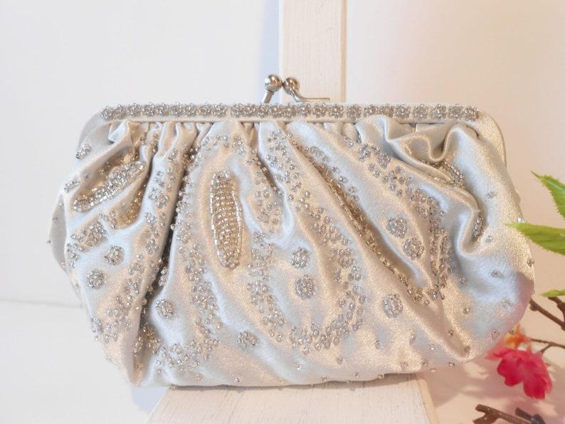 717df38e02 Vintage Silver Evening Bag Beaded Silver Clutch Bag Wedding