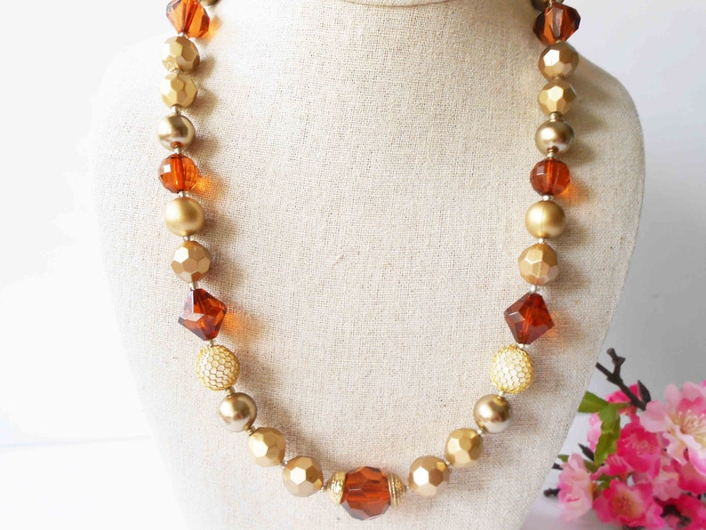 Single Strand Fall Wardrobe Accessory Pearl Vintage Bead Necklace Gold and Faux Amber Beads Fall Color Necklace