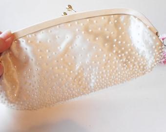 Beaded Evening Bag, Vintage Bead Bag, Creamy White Purse,  Beaded Purse, Wedding Bridal EB-0502